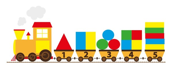 cartoon train with numbers 1-5 / educational vector illustration for children