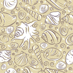 Seamless Patterns with  summer symbols, shellfish and clams  on a beige background, vector illustration.