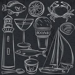 Set of  summer symbols, shells, crab, boat, cocktail, lighthouse, ice cream, bucket, fish, fruit on blackboard  background, vector illustration.