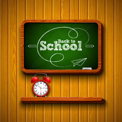Back to school design with alarm clock, chalkboard and typography lettering on wood texture background. Vector illustration for greeting card, banner, flyer, invitation, brochure or promotional poster