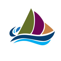 Logo boat with beach waves