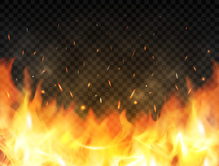 Realistic flames on transparent background. Fire background with flames, red fire sparks flying up, glowing particles and smoke. Burning flames. Bonfire, campfire or fireplace concept. Vector