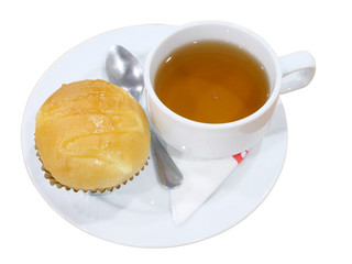 Bread and tea in plate on white background with clipping path