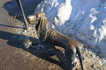 Russia, Kostroma, Susaninskaya square, monument to the hero-dog