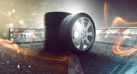 Reifen auf Straße mit Lichteffekten