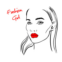 Fashion woman with red lips sketch. Fashion face woman portrait for your design. Beautiful young woman portrait with elegant makeup. Beauty Fashion model. Sketch. Vector illustration.