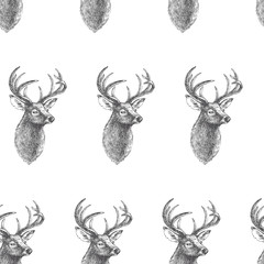 Vector seamless pattern with vintage engraved deer heads. Hand drawn texture with animal portraits isolated on white background