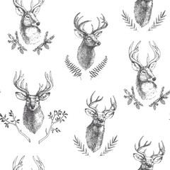 Vector vintage seamless pattern with deers heads in floral frames. Hand drawn texture with animal portraits and botanical details in engraving style. Forest background with natural elements