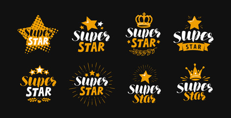 Super star, set of labels or logo. Lettering vector illustration