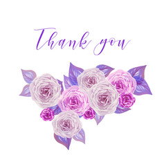 Modern watercolor pastel tones roses with leaves composition with Thank You script inside. Shades of rose and light violet
