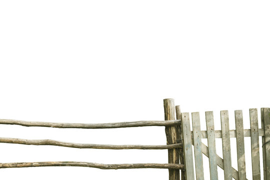 Old wooden fence with wicket on white background. Rustic lifestyle concept