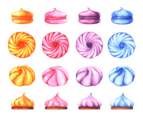 Hand painted set of watercolor colorful marshmallows isolated on white background