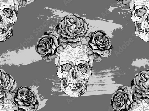 Seamless Mexican Pattern With Skulls And Roses Rose Floral