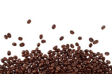 Roasted coffee beans, isolated on white background