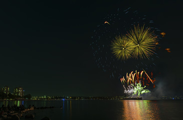 fireworks over the ocean in the big city, silhouettes of people on the beach