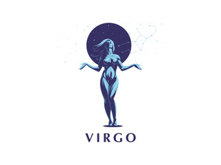 Sign of the zodiac Virgo. Vector illustration.