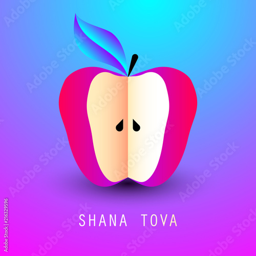 Greeting card with symbol of rosh hashanah red apple jewish new greeting card with symbol of rosh hashanah red apple jewish new year celebration m4hsunfo
