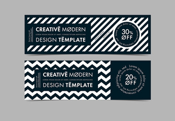 Web Banner Layout with Black and White Patterns