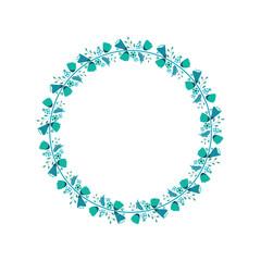 Floral Flower Wreath Frame Flat Design Illustration