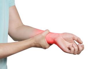 Wrist pain, isolated on white background