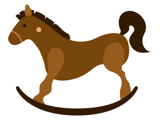 Isolated wooden horse toy icon
