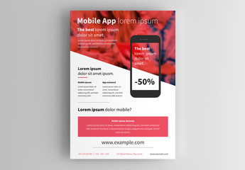 Business Flyer Layout with Red Accents