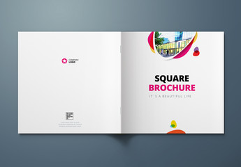 Square Cover Layout with Pink and Yellow Elements