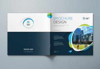 Square Cover Layout with Blue and Green Elements