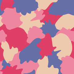 Camouflage abstract shapes seamless vector background. Pink, beige, purple shapes layered. Doodle background. Graphic illustration for wrapping, web backgrounds, paper, fabric, packaging, girl, women