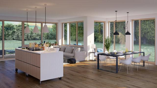 modernes Wohnzimmer in Bungalow - moderne flat house with kitchen