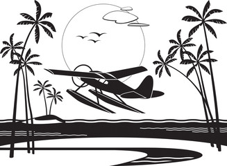 Seaplane taking off from an island in the ocean - vector illustration