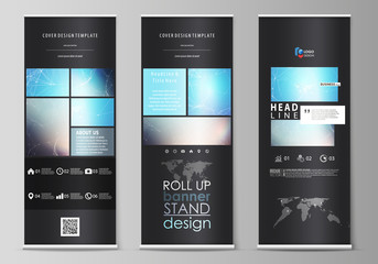 The black colored vector illustration of editable layout of roll up banner stands, vertical flyers, flags design business templates. Molecule structure. Science, technology concept. Polygonal design.