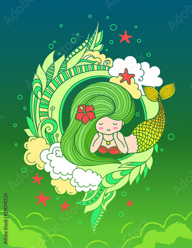 Lying Dreamy Mermaid With Golden Tail And Long Beautiful Green Hair