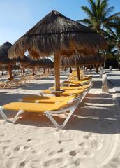 Beach amenities in a tropical resort
