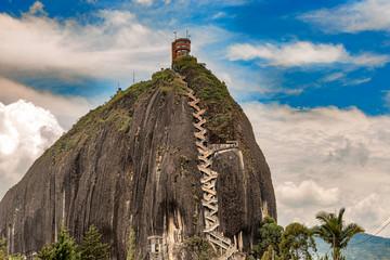 The Rock El Penol near the town of Guatape, Antioquia in Colombia.