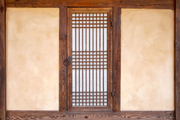 Korean traditional door with mud wall