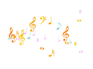 Music Notes Confetti Falling Chaos Vector. Music Symbols Texture Poster Background Elements. Party Night, Festival, Celebration or Concert, Melody Notes Trail. Decorative Song Sheets Chaos Effect.