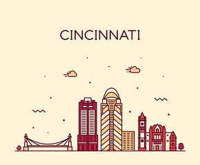 Cincinnati skyline Ohio USA vector linear city