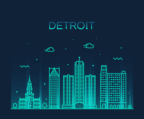 Detroit city skyline Michigan USA vector line city