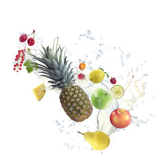 Healthy Food with water splash