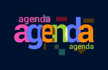 Agenda Colorful Overlapping Vector Letter Design Dark Background