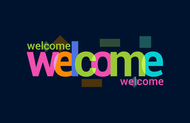 Welcome Colorful Overlapping Vector Letter Design Dark Background
