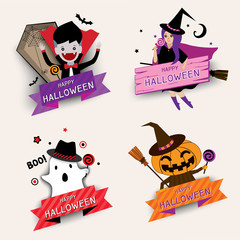 Illustration vector of Halloween icon design with vampire, ghost, witch and pumpkin monster for set.