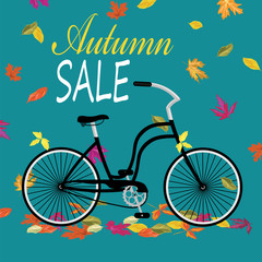 vector illustration with bike and autumn leaves and lettering autumn sale