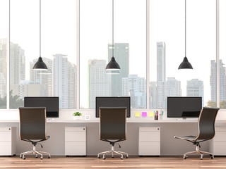 Wall Mural - Moderm office with city view 3d render.The rooms have wooden floors.Furnished with white table and black leather chair. There are large window overlooking to city view.