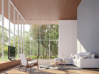 Wall Mural - Tropical house living room 3d render.The Rooms have wooden floors and ceiling,concrete tile wall.furnished with white fabric furniture.There are large window. Overlooks to garden view.