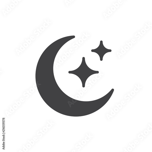 Moon and Stars vector icon  filled flat sign for mobile