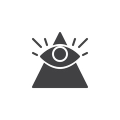 All seeing eye vector icon. filled flat sign for mobile concept and web design. Magic eye simple solid icon. Symbol, logo illustration. Pixel perfect vector graphics