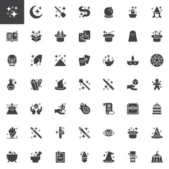 Magic elements vector icons set, modern solid symbol collection, filled style pictogram pack. Signs, logo illustration. Set includes icons as Magic book, Box, Ball, Rabbit, Wand, Witch broomstick