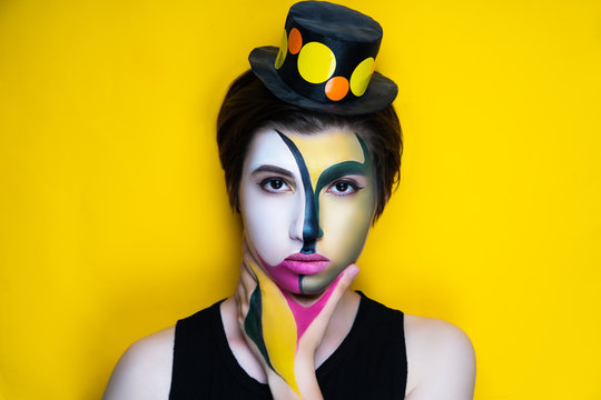 woman cubism art make up
